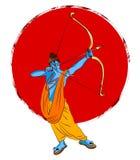 Lagerföra illustrationen av ett hälsningkort som säger att lyckliga Dussehra med skissar av Lord Rama och Ravana i strid Arkivfoton