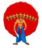 Lagerföra illustrationen av ett hälsningkort som säger att lyckliga Dussehra med skissar av Lord Rama och Ravana i strid Royaltyfri Bild