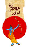 Lagerföra illustrationen av ett hälsningkort som säger att lyckliga Dussehra med skissar av Lord Rama och Ravana i strid Fotografering för Bildbyråer