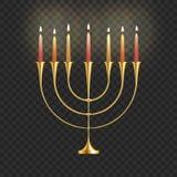 Lagerföra menoror för vektorillustrationChanukkah med stearinljus som isoleras på en genomskinlig bakgrund Judisk ljusstake Festi royaltyfri illustrationer