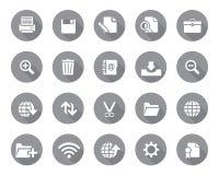 Lagerföra rundade rengöringsduk- och kontorssymboler för vektor grå färger med skugga i hög upplösning stock illustrationer