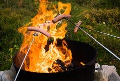 Lagerfeuer im Holz Lizenzfreies Stockfoto