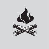 Lagerfeuer mit Brennholz-Vektor-Illustrations-Ikone stock abbildung