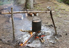 Lagerfeuer mit Kessel im Wald Stockfotografie