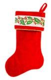 lagerföra för jul röd socka för jultomten gåvor som isoleras på vit Arkivbilder