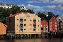 Lagerhäuser in Trondheim, Norwegen Lizenzfreies Stockfoto