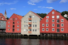 Lagerhäuser in Trondheim, Norwegen Lizenzfreies Stockbild