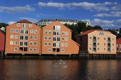 Lagerhäuser in Trondheim, Norwegen Stockfoto