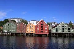 Lagerhäuser in Trondheim, Norwegen Stockfotografie