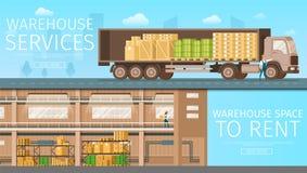 Lagerhemsändning, lagerutrymme som ska hyras stock illustrationer