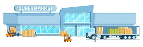Lagerlastbilavlastning fraktar i supermarket royaltyfri illustrationer