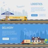 Lagerleverans- och logistikbaner Arkivfoton