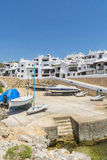 Lagerraumboote des Fischerdorfes, Menorca, Spanien Stockfotografie