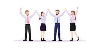 Laget av kontorsarbetare som rymmer händer, jublar i framgång vektor illustrationer