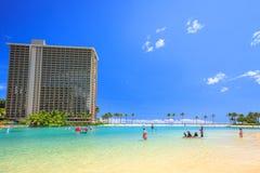 Laggon i den Waikiki stranden Fotografering för Bildbyråer