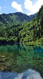 Laghi blu sulle montagne nel neo della valle del Jiuzhaigou Fotografie Stock Libere da Diritti