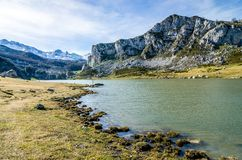 Laghi covadonga, Picos de Europa L'Asturia, Spagna immagini stock