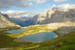 Laghi dei Piani, mountain lakes near refuge Locatelli and Val Fi Royalty Free Stock Photo