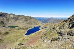 Laghi dell'alta montagna di Tristaina in Pirenei Fotografia Stock
