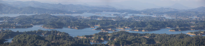 Laghi ed isole a Guatape in Antioquia, Colombia Fotografie Stock Libere da Diritti