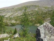 Laghi Karakol in montagne 2014 di Altai Immagine Stock Libera da Diritti