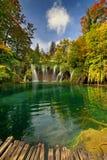 Laghi Plitvice della Croazia - parco nazionale in autunno Immagine Stock Libera da Diritti