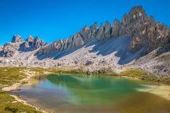 Laghi tre Cime in montagne delle dolomia in Italia Fotografia Stock
