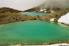 Laghi verde smeraldo con le zone della neve Immagini Stock