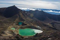 Laghi verde smeraldo dell'incrocio alpino di Tongariro Fotografie Stock Libere da Diritti