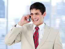 Laghing businessman talking on phone standing Stock Image