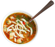 Laghman soup in white bowl isolated Royalty Free Stock Images