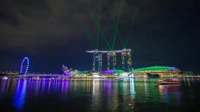 Laghtshow Timelapse de Singapur Marina Bay almacen de metraje de vídeo