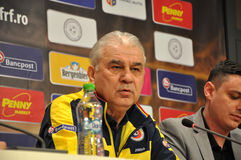 Lagledaren och spelarna av Rumänien nationella fotbollslag Royaltyfri Fotografi