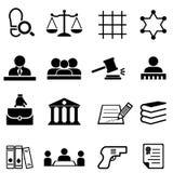 Laglig och advokatsymbolsuppsättning för rättvisa, för lag, vektor illustrationer