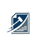 Lagligt abstrakt begrepp för försäkring för affär för bokföringlogodesign Arkivfoto