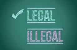 Lagligt vs olagligt stock illustrationer
