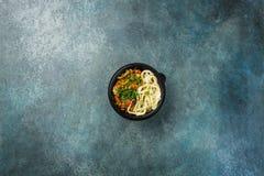 Lagman asiático tradicional do macarronete com vegetais e carne Vista superior Fotos de Stock Royalty Free