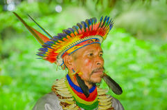 Free LAGO AGRIO, ECUADOR - NOVEMBER 17, 2016: Portrait Of A Siona Shaman In Traditional Dress With A Feather Hat In An Royalty Free Stock Images - 94538619