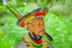 LAGO AGRIO, EQUADOR - 17 DE NOVEMBRO DE 2016: Retrato de um curandeiro de Siona no vestido tradicional com um chapéu da pena no imagens de stock royalty free