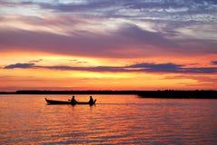 Lago al tramonto Fotografia Stock Libera da Diritti