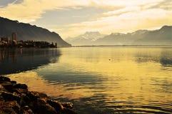 Lago al tramonto, Montreaux, Svizzera, Europa geneva Fotografia Stock