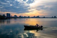lago all'insieme del sole Fotografia Stock Libera da Diritti