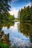 Lago alps e foresta selvaggia Fotografia Stock