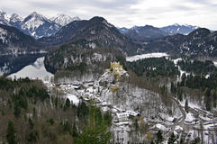 Lago Alpsee e castello di Hohenschwangau La Baviera, Germania Fotografia Stock Libera da Diritti