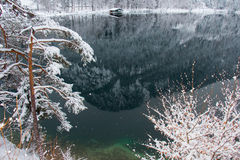 Lago Alpsee nell'orario invernale con la riflessione della montagna ed il pilastro di legno germany Immagini Stock Libere da Diritti