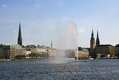 Lago Alster a Amburgo Fotografie Stock Libere da Diritti