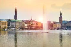 Lago Alster, Amburgo, Germania Immagine Stock Libera da Diritti