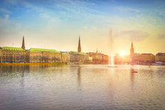 Lago Alster a Amburgo, Germania Fotografia Stock