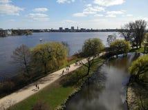 Lago Alster em Hamburgo imagens de stock royalty free