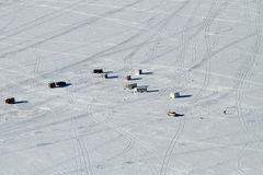 Lago Altoona Wisconsin da pesca do gelo Fotografia de Stock